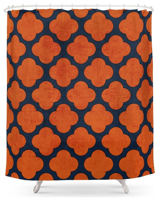 Society6 Society6 Navy And Orange Clover Shower Curtain Shower Curtains H