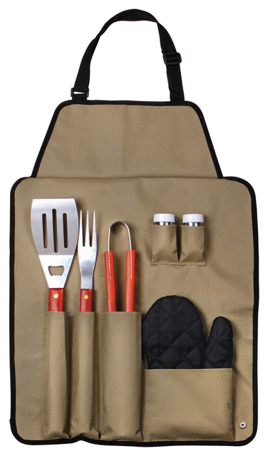 7-Piece Bbq Apron And Utensil Set By Chef Buddy.