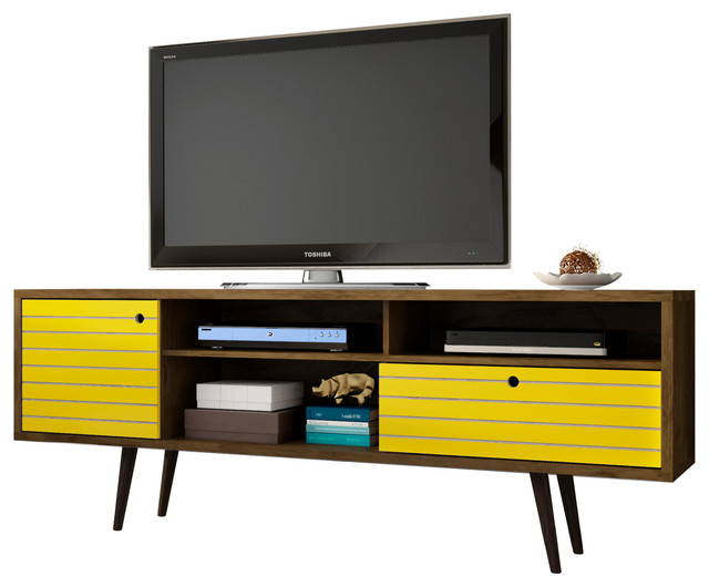 differently 85961 4b8a0 Mid Century Modern TV Stand, 4-Shelf, Rustic Brown Yellow