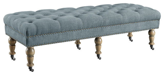 Solid Wood Fire Foam Bench, Distressed Gray.