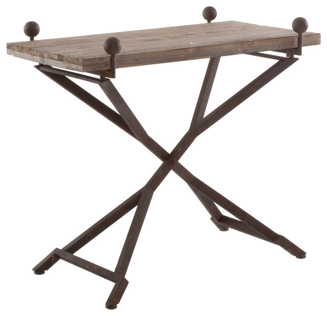 French country reclaimed wood folding wrought iron side for Iron and wood side table