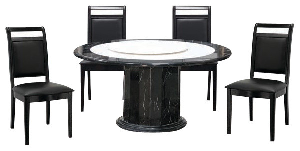 7 Piece White And Black Marble Modern Dining Set With Lazy Susan, Round