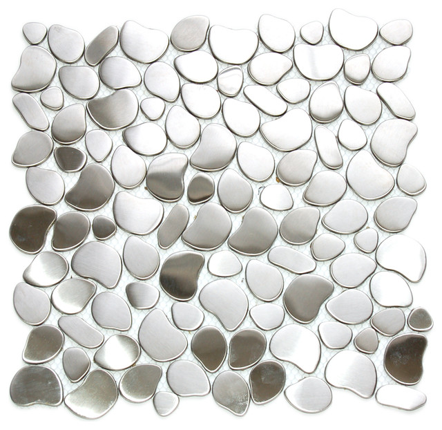 "12""x12"" River Rock Pattern Mosaic Stainless Steel Tile, Single Sheet"