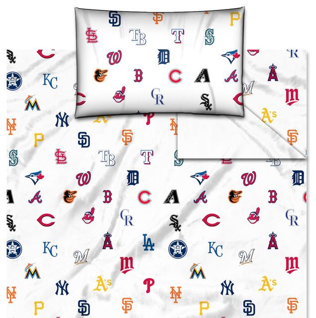 MLB Sheet Set Baseball League Teams 3 Piece Twin Size Bed Sheets