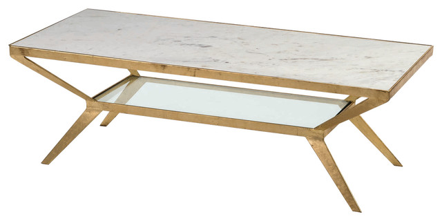 Art Deco Rectangular Gold Coffee Table With Marble Table Top