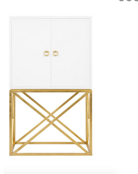 Worlds Away London White Lacquer Bar Cabinet - Contemporary - Wine ...