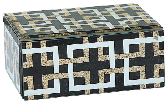"Glass Decorative Boxes With Geometric Patterns, Set of 2, 5""x4""x2"""