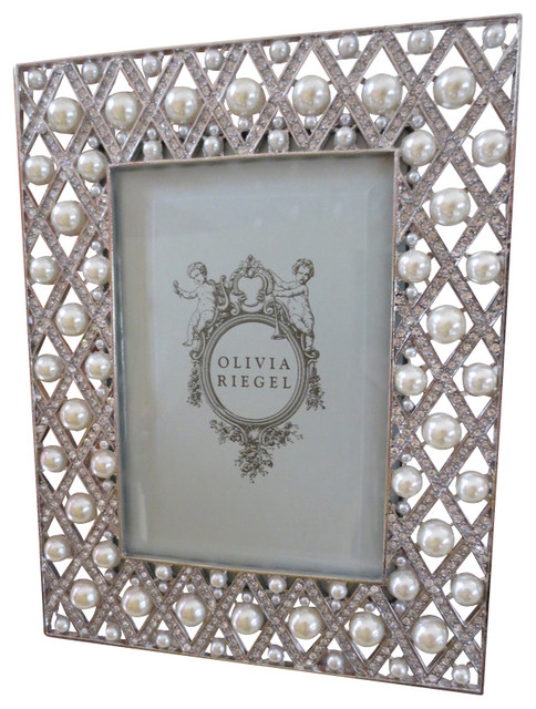 olivia riegel pegeen swarovski crystal and pearl 4x6 photo frame traditional picture frames