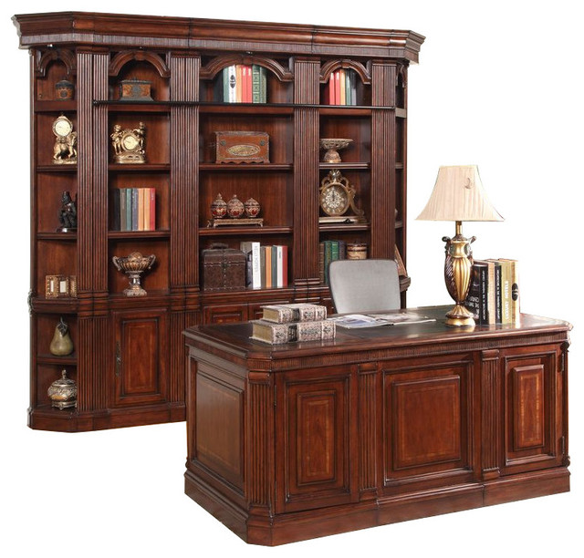 Parker House Wellington 6-Piece Library Wall With Executive Desk Set, Brown.