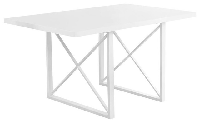 Dining Table, 36x60, White Glossy/white Metal.