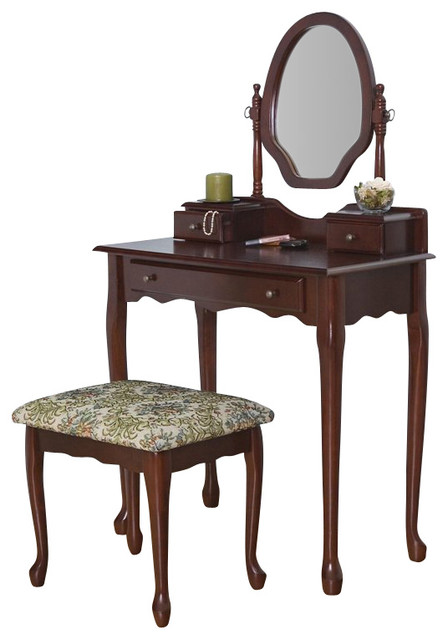 Coaster Traditional Wood Makeup Vanity Table Set with Mirror in Stained  Cherry traditional-bedroom-