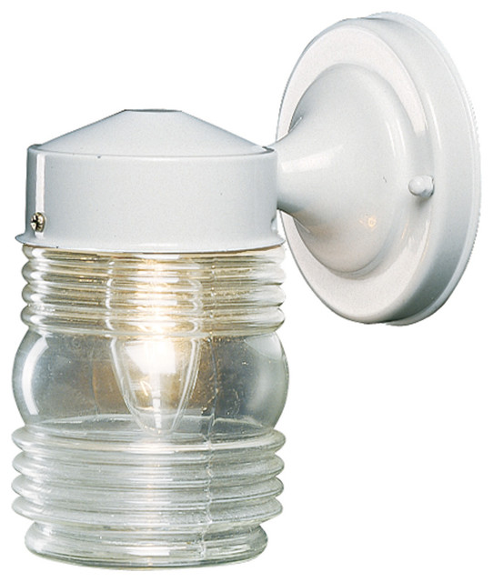 Hardware House Outdoor Jelly Jar Wall Fixture White 4 5 X7 5