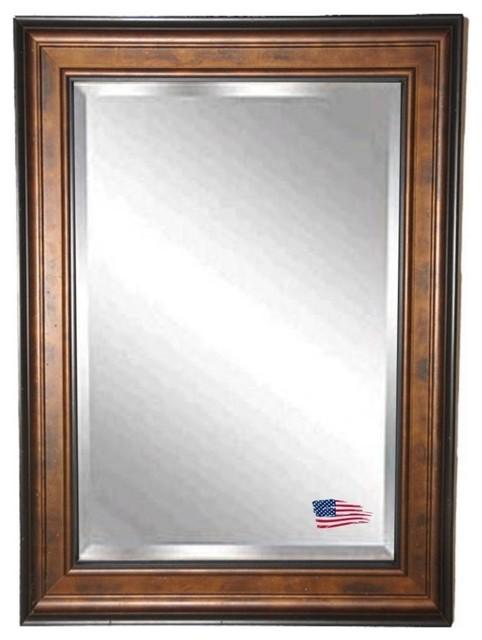 "Rayne Mirrors Bronze And Black Wall Mirror 32.75""x38.75"". -1"