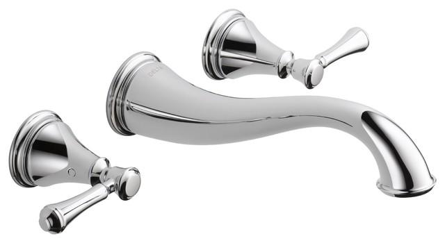 Delta Cassidy Chrome Wall Mount Bathroom Faucet Includes Trim Kit/Valve D2080V