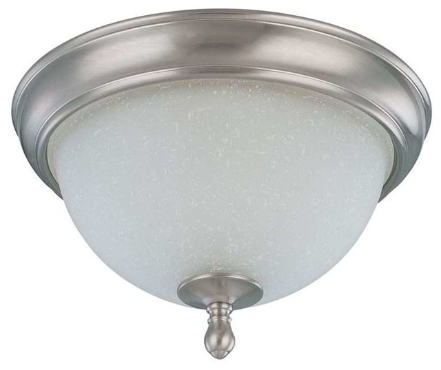 "Nuvo Bella 2-Light 11"" Flush Dome With Frosted Linen Glass."