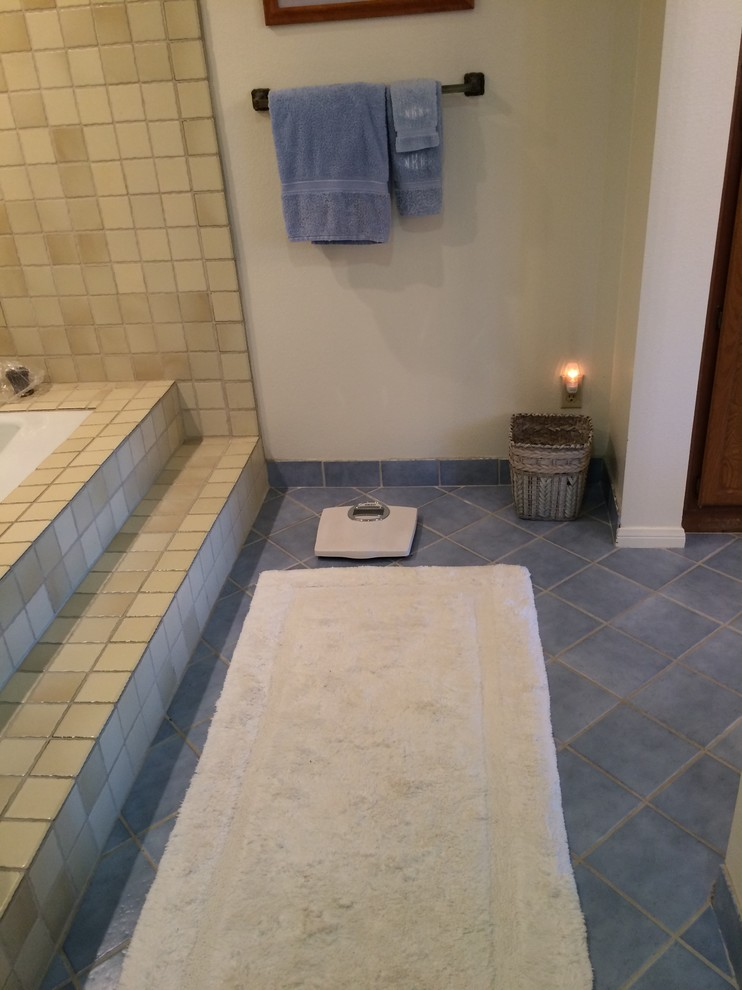 Before: Old step up tub and tile.