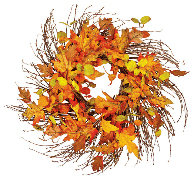 "24"" Wild Fall Leaf Twig Wreath."