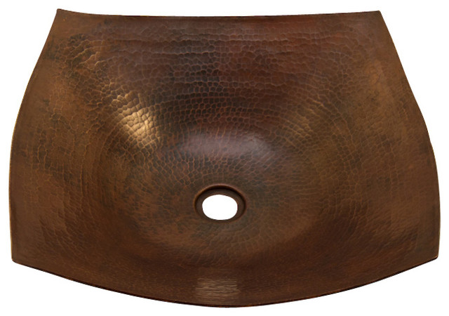 Square Vessel Bathroom Copper Sink - Very Thick Gauge 14.
