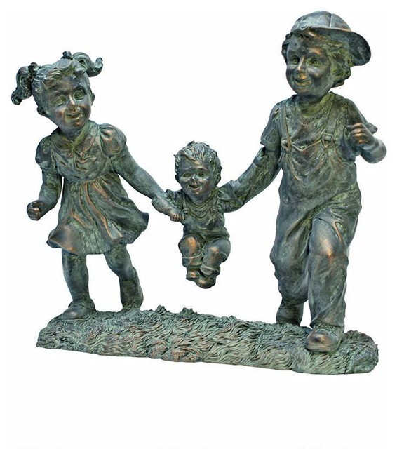 Bronze Finish Children Childhood Memories Garden Statue