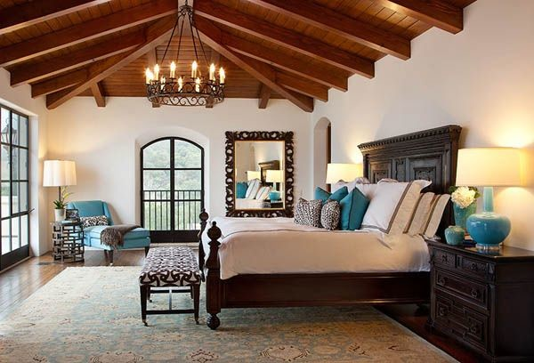Montecito transitional estate mediterranean bedroom for Mediterranean master bedroom