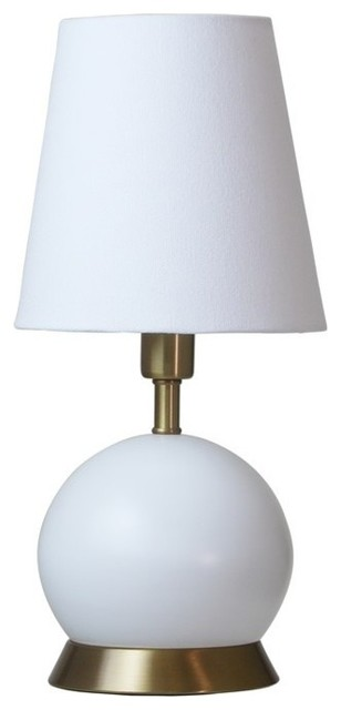 House of troy geo 12 ball mini accents lamp white with brass accents