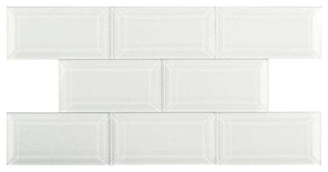 """Somertile 3""""x6"""" Reflections Beveled Glass Wall Tiles, Ice White, Set Of 8."""