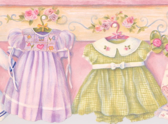 Baby Dresses On Hangers On Yellow And Pink Wall Vintage Wallpaper Border Kids