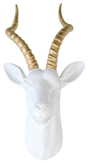 Large Faux Antelope Head Wall Mount, White, Gold.
