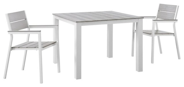 Modway Maine Outdoor Dining Table in White and Light Gray