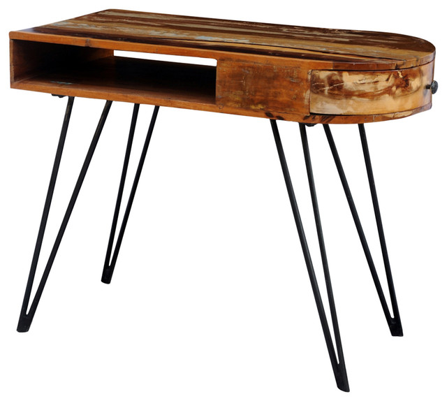 Vidaxl Reclaimed Solid Wood Desk With Iron Pin Legs.