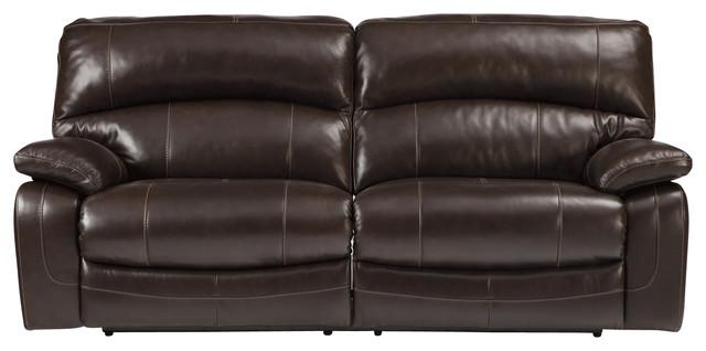 Damacio Two Seat Power Reclining Sofa, Dark Brown Contemporary Sofas