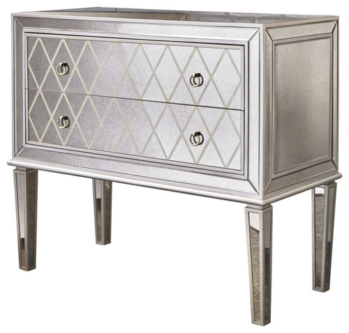 GDF Studio Essex Silver Finished Mirrored 2-Drawer Cabinet With Faux Wood Frame