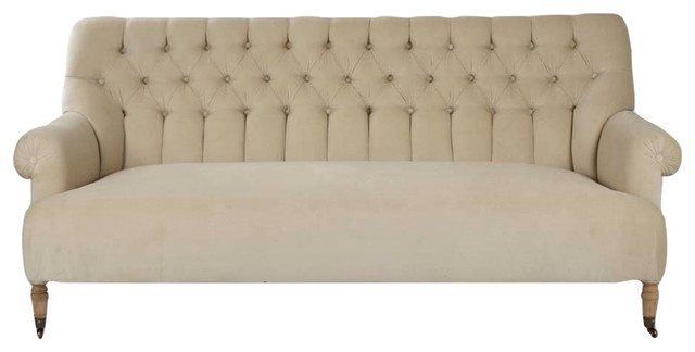 Sebastian French Country Natural Linen Tufted Back Sofa Traditional Sofas