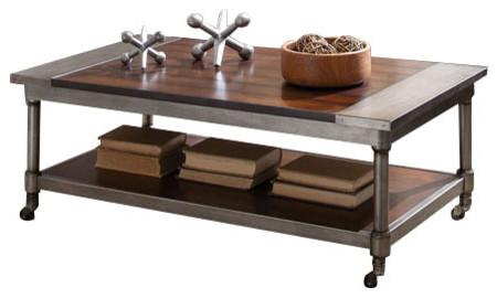 Standard Furniture Hudson 3 Piece Rectangular Coffee Table Set In Warm  Cherry