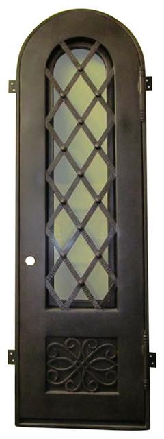 "Cellar 34""x96"" Iron Door, Round Top, Clear Glass."