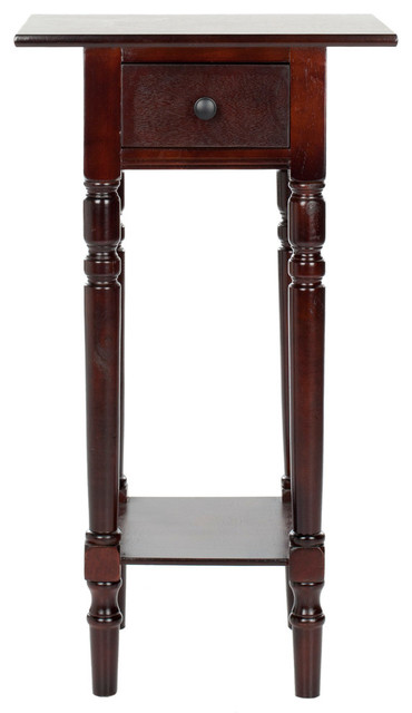 Safavieh Sabrina End Table With Storage Drawer, Dark Cherry.