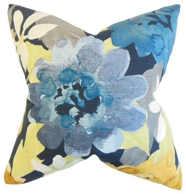 "Penrose Floral Pillow, Indigo 18""x18""."