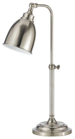 "25"" Table Lamp Traditional Desk Light, Reading Table Lamp Brushed Steel."