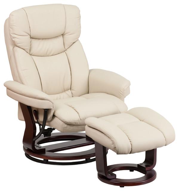 Flash Furniture Vintage Leather Recliner, Beige.