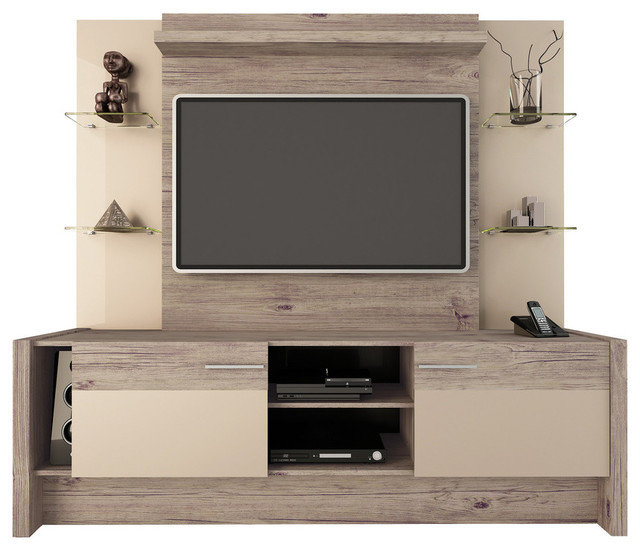 Manhattan Comfort 2 Shelf Morning Side Entertainment Center Nature And