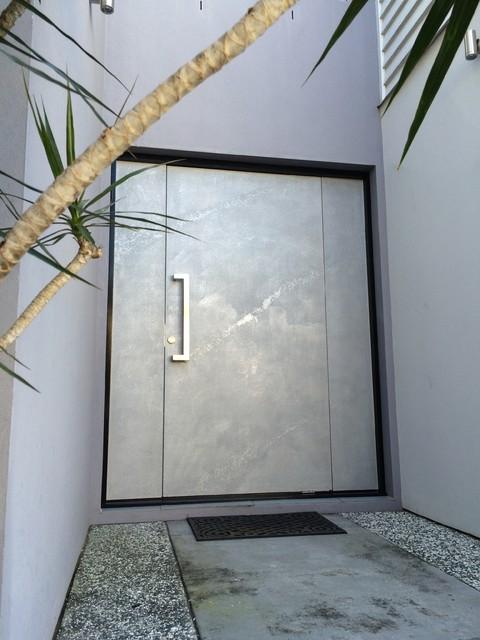 Silver venetian plaster front door modern