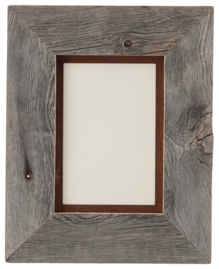 Barnwood Frame With Rusted Metal Mat 5x7