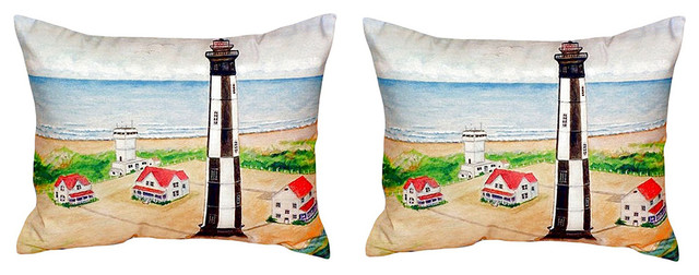 Pair of Betsy Drake Cape Henry Lighthouse No Cord Pillows 15 Inch X 22 Inch
