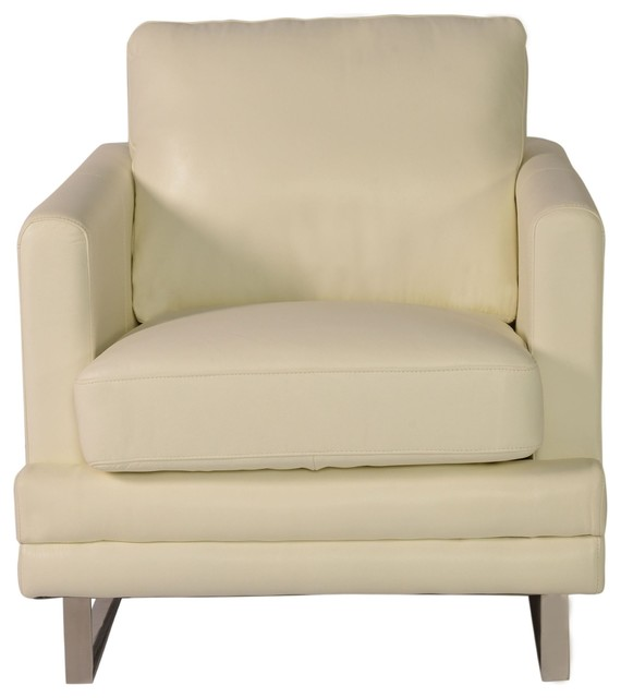 Lazzaro Leather Melbourne Chair Antique White Contemporary