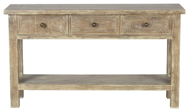 Gerald Reclaimed Pine 3 Drawer Console Table By Kosas Home