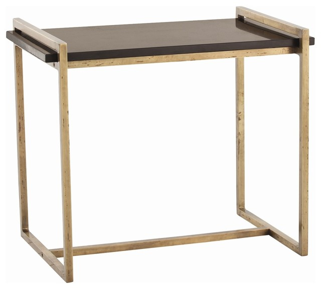 Arteriors Hollis Side Table Transitional Side Tables And End - Black and brass side table