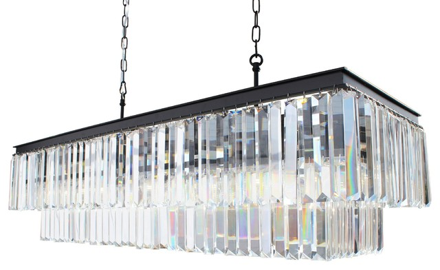 Rectangular Crystal Fringe Chandelier