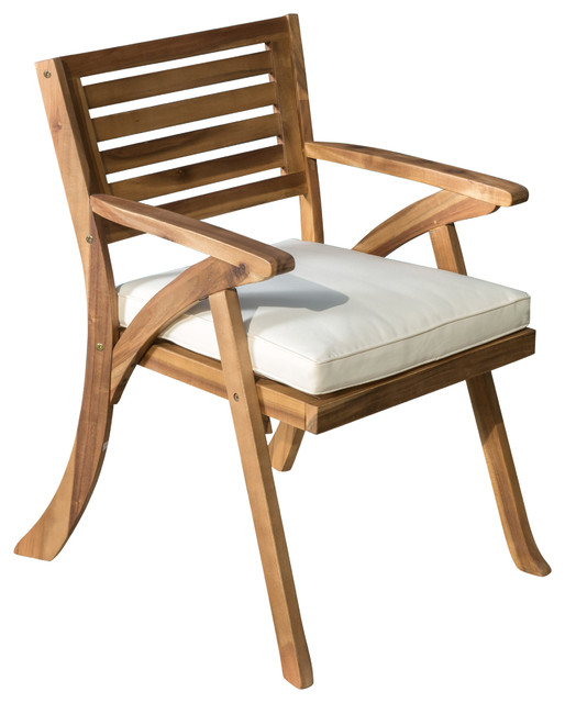 Helen Outdoor Teak Finish Acacia Wood Arm Chair, Set Of 2  Transitional Outdoor