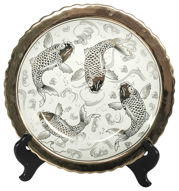 Ceramic Plate With Stand Koi White/Gold  sc 1 st  Houzz & Ceramic Plate With Stand Koi White/Gold - Asian - Decorative Plates ...