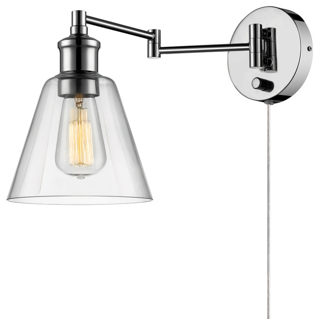 Leclair 1 Light Chrome Plug In Or Hardwire Wall Sconce